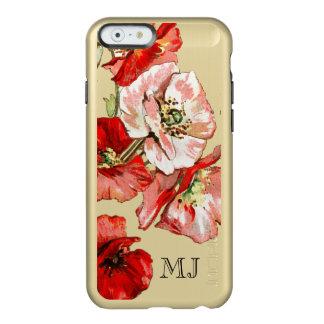 Monograma de la flor salvaje de la amapola funda para iPhone 6 plus incipio feather shine