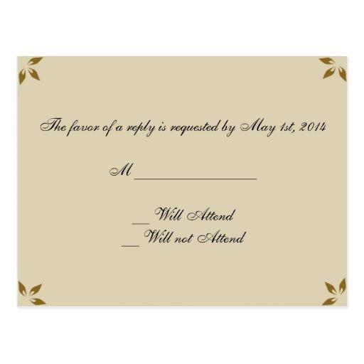 Monograma de la guirnalda de la caída que casa tarjeta postal
