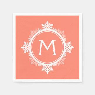 Monograma de la guirnalda del copo de nieve en servilleta desechable