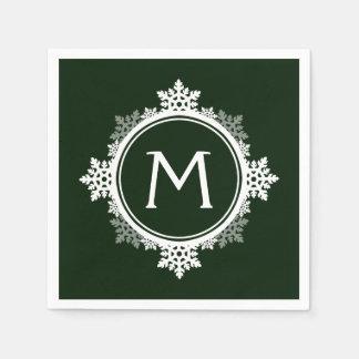 Monograma de la guirnalda del copo de nieve en servilletas desechables