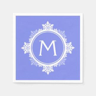 Monograma de la guirnalda del copo de nieve en servilletas de papel