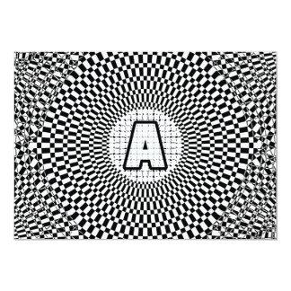 """Monograma de la ilusión óptica invitación 5"""" x 7"""""""