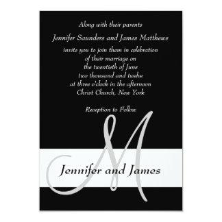 Monograma de la invitación del boda blanco y negro