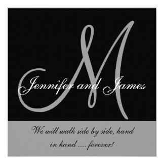 Monograma de la invitación del boda que dice blanc