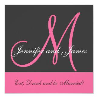 Monograma de la invitación del boda que dice el invitación 13,3 cm x 13,3cm