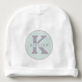 Monograma de la lavanda + Gorrita tejida del bebé Gorrito Para Bebe