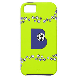 Monograma de la letra B en azul del fútbol iPhone 5 Carcasa