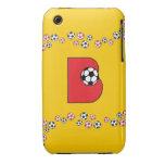 Monograma de la letra B en rojo del fútbol Case-Mate iPhone 3 Carcasa