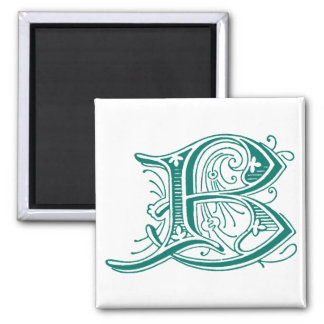 Monograma de la letra B Imán Cuadrado