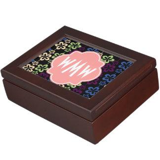 Monograma de la letra del coral tres del estampado cajas de recuerdos