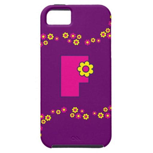 Monograma de la letra F en el rosa de Flores iPhone 5 Carcasa