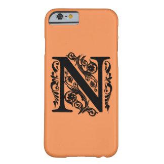 Monograma de la letra inicial de N - el papel Funda Barely There iPhone 6