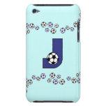 Monograma de la letra J en azul del fútbol iPod Touch Carcasas