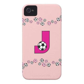 Monograma de la letra J en rosa del fútbol Case-Mate iPhone 4 Carcasa
