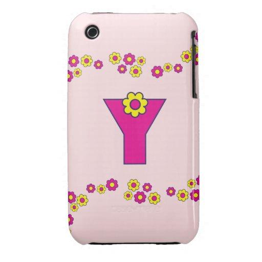 Monograma de la letra Y en el rosa de Flores Case-Mate iPhone 3 Protectores