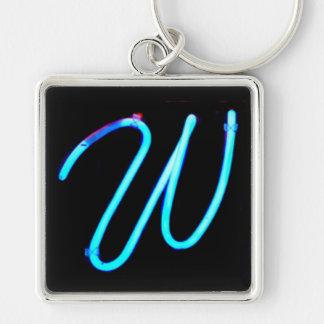 """Monograma de la luz de neón de la letra """"W"""" Llavero Cuadrado Plateado"""