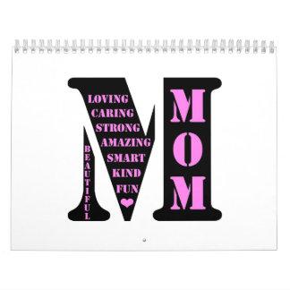 Monograma de la mamá calendarios de pared