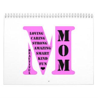 Monograma de la mamá calendarios