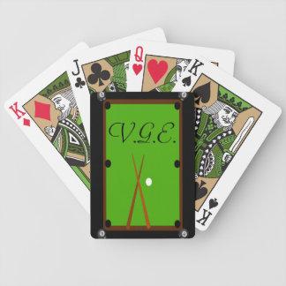 Monograma de la mesa de billar de los billares baraja cartas de poker
