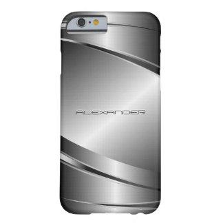 Monograma de la mirada de Metalli del acero Funda De iPhone 6 Barely There