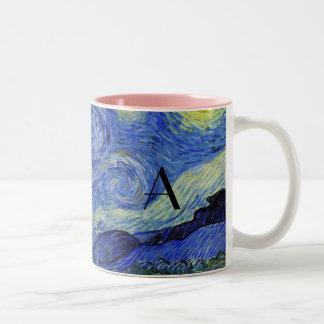 Monograma de la noche estrellada taza de café