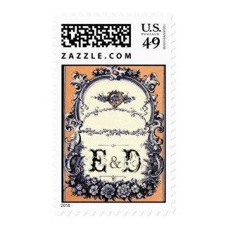 Monograma de la novia y del novio timbres postales