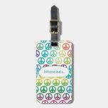 Monograma de la paz de mundo etiqueta de maleta