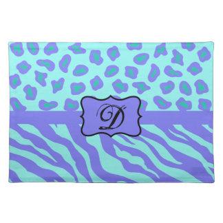 Monograma de la piel del leopardo de la cebra de manteles individuales
