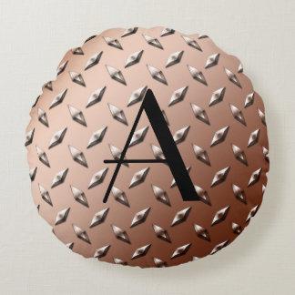Monograma de la placa de acero del diamante de cojín redondo