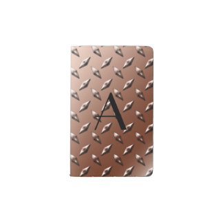 Monograma de la placa de acero del diamante de funda para libreta y libreta pequeña moleskine