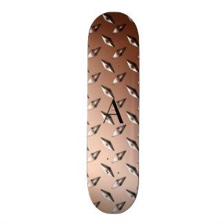 Monograma de la placa de acero del diamante de monopatines personalizados