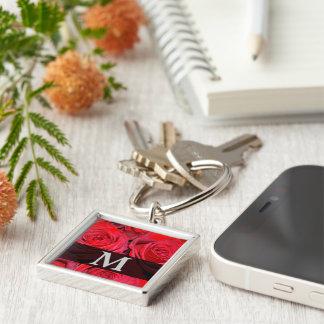 Monograma de la plata del negro del rosa rojo llaveros personalizados