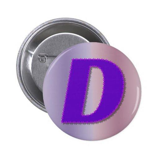 Monograma de la púrpura de D Pin Redondo De 2 Pulgadas