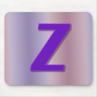 Monograma de la púrpura de Z Tapetes De Ratones