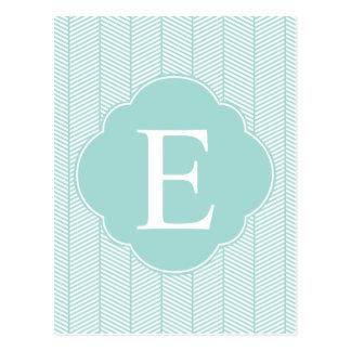 Monograma de la raspa de arenque del trullo de la tarjeta postal