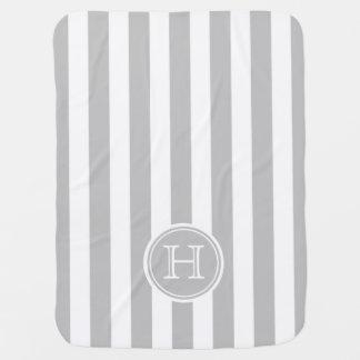 Monograma de la raya del gris y del blanco de mantita para bebé
