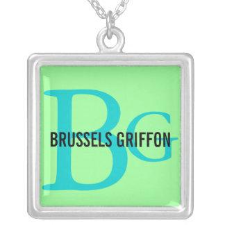 Monograma de la raza de Bruselas Griffon Colgante Cuadrado