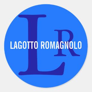 Monograma de la raza de Lagotto Romagnolo Pegatina Redonda