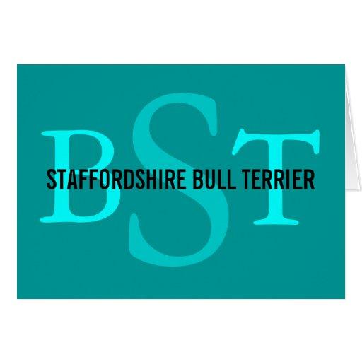 Monograma de la raza de Staffordshire bull terrier Tarjetón
