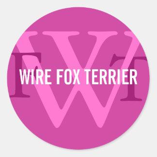 Monograma de la raza del fox terrier del alambre pegatina redonda