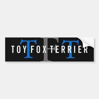 Monograma de la raza del fox terrier del juguete pegatina de parachoque