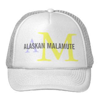Monograma de la raza del Malamute de Alaska Gorros Bordados