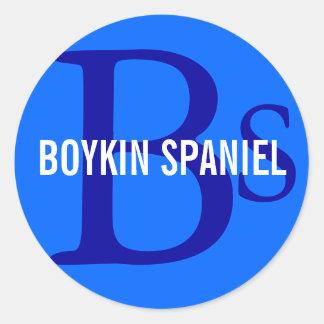 Monograma de la raza del perro de aguas de Boykin Pegatina Redonda