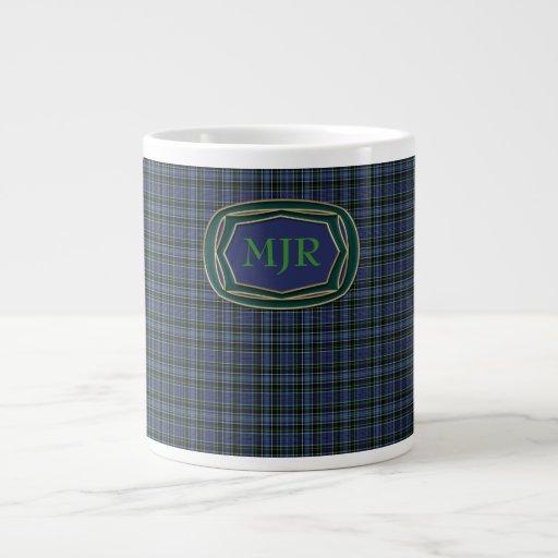 Monograma de la tela escocesa de tartán del Escocé Taza Jumbo