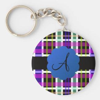 Monograma de la tela escocesa llavero personalizado