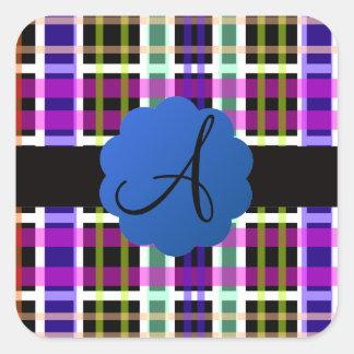 Monograma de la tela escocesa pegatina cuadrada