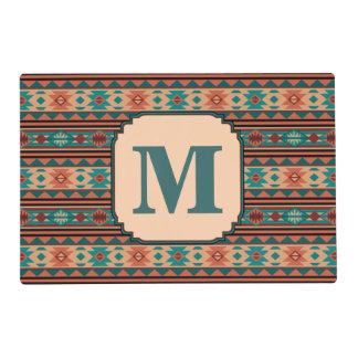 Monograma de la terracota de la turquesa del tapete individual