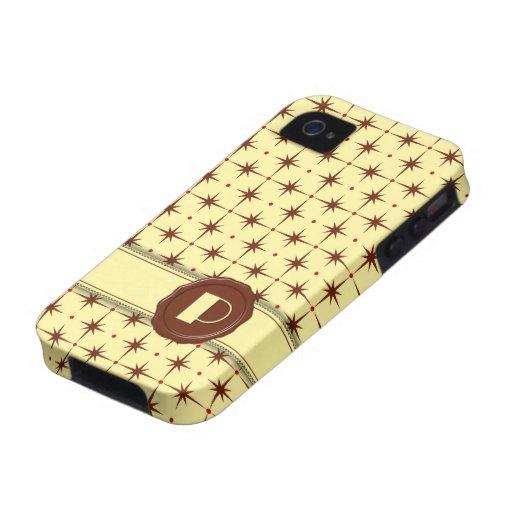Monograma de la tienda del chocolate - estrellas d iPhone 4 carcasa