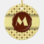 Monograma de la tienda del chocolate - estrellas adorno de navidad