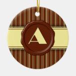 Monograma de la tienda del chocolate - raya del ch adornos de navidad